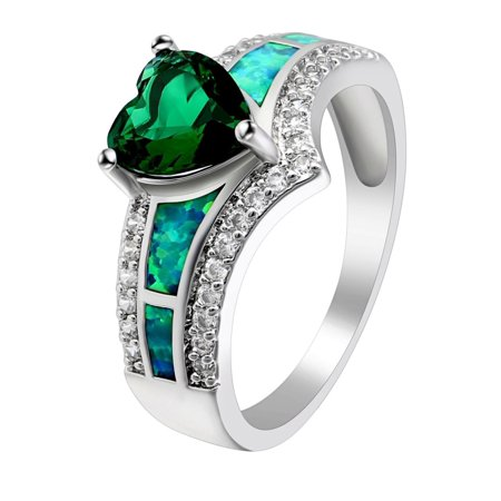 Majestic Green Heart CZ Lab Created Opal Ring - Ginger Lyne (Green Cubic Zirconia Heart)