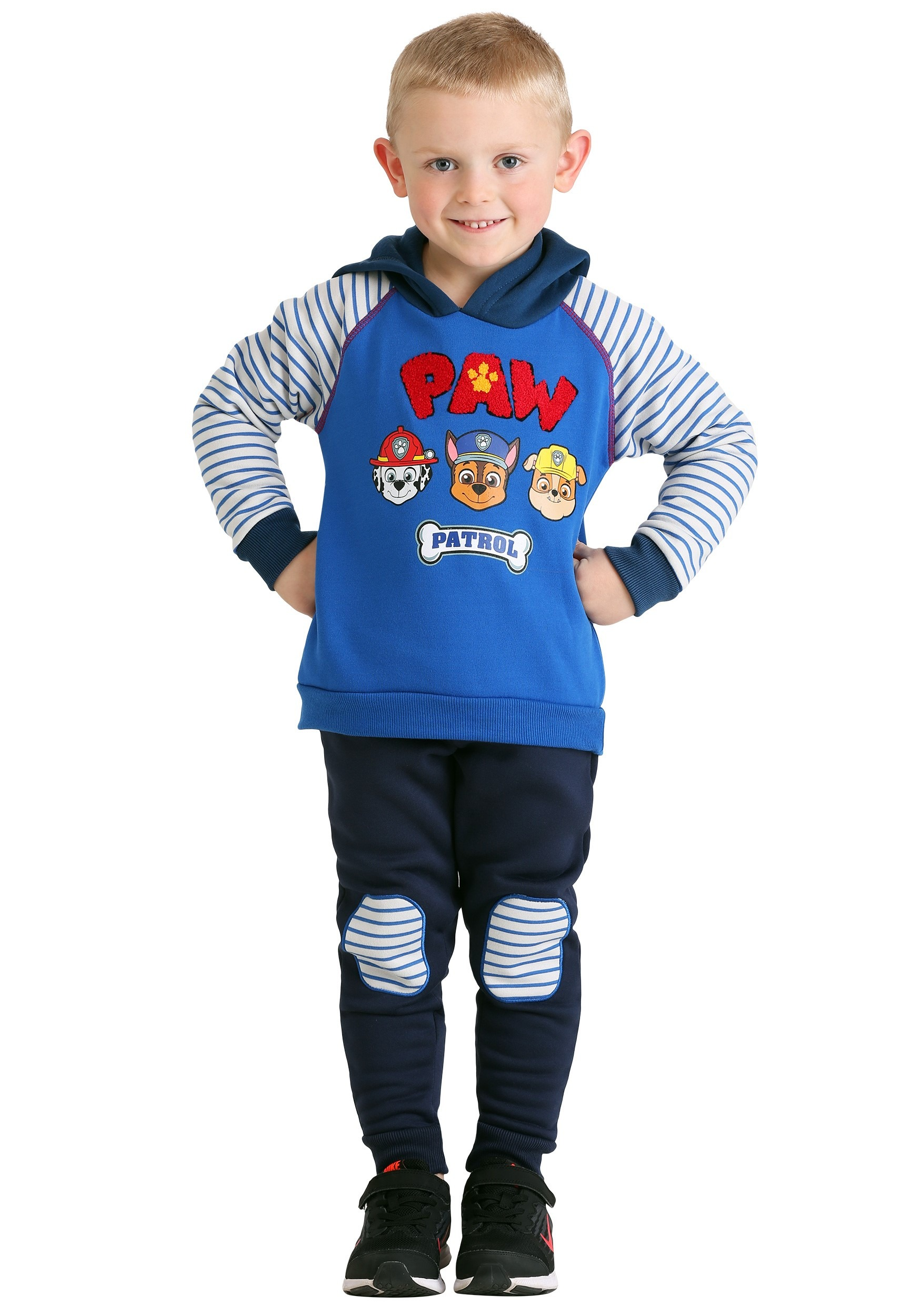 Pullover Hoodie Sweatshirt & Knee Patch Jogger Pants, 2pc Outfit Set (Baby Boys & Toddler Boys)