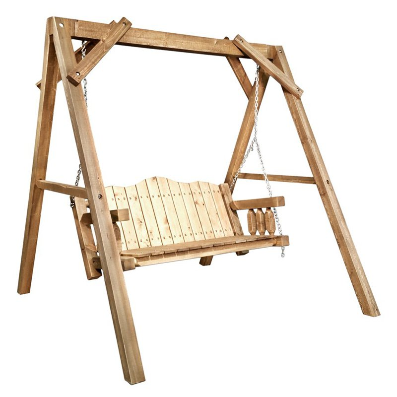 Montana Woodworks Homestead Lawn Swing with A-Frame Stand