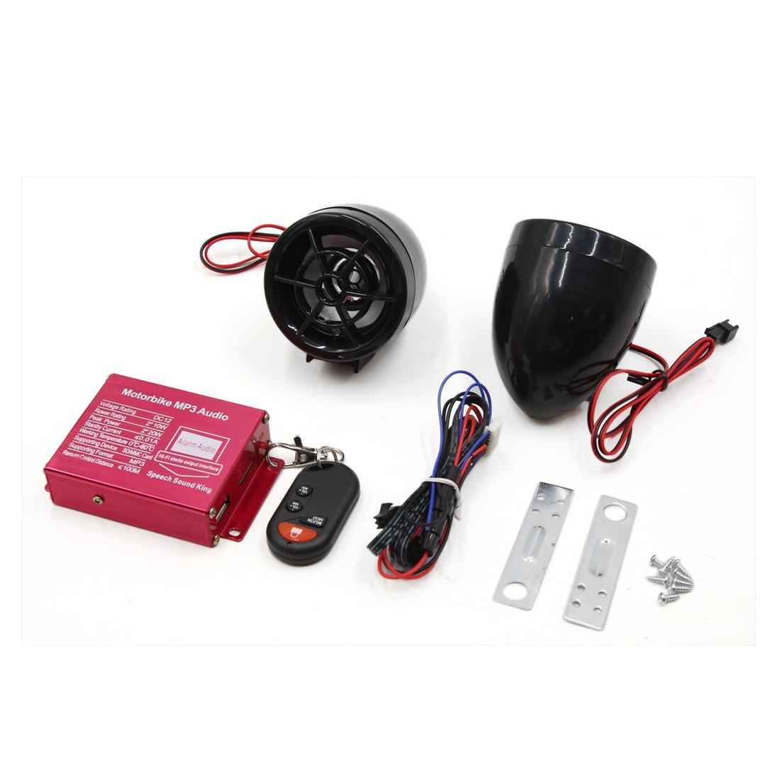2Pcs Motorcycle MP3 SD USB Amplifier Speaker  Alarm Audio Stereo DC 12V