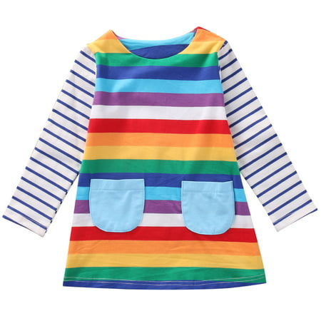 Toddler Baby Kids Girl Long Sleeve Striped Rainbow Party Princess Dress Spring Autumn - Baby Girl Rainbow Dress