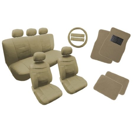 Classic Premium Synthetic PU Faux Leather Seat Cover Set Beige Tan with 4pc Carpet Floor Mats 18pc Set For Kia Soul