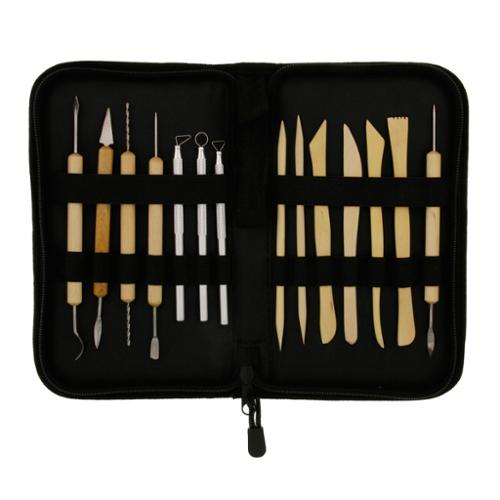 US Art Supply® Pottery, Clay & Ceramics 14 Piece Tool Set Sculpting w/ Case