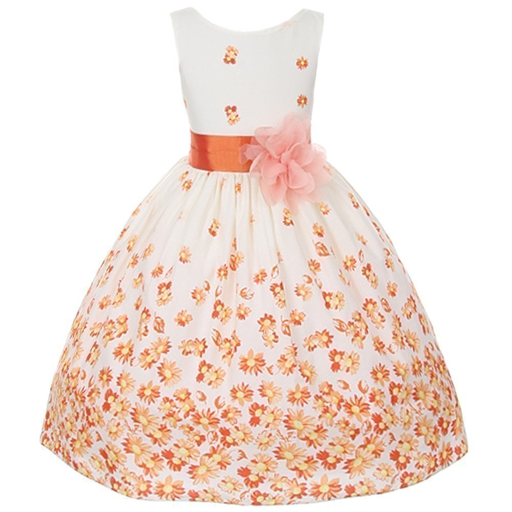 Kids Dream Girls Orange White Daisy Special Occasion Dress 12