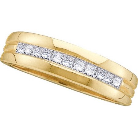 14K Yellow Gold 1.00CT Shiny Princess Cut Diamond Invisible Mens Band (Diamond Princess Cut Mens Ring)