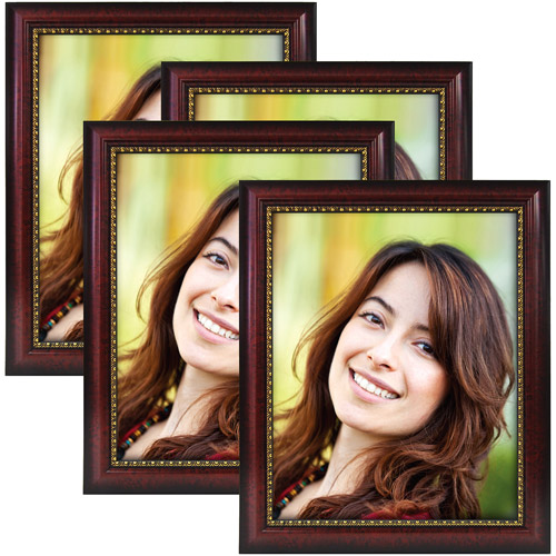 4pk 8x10 Mahogany with Gold Trim Picture Frame