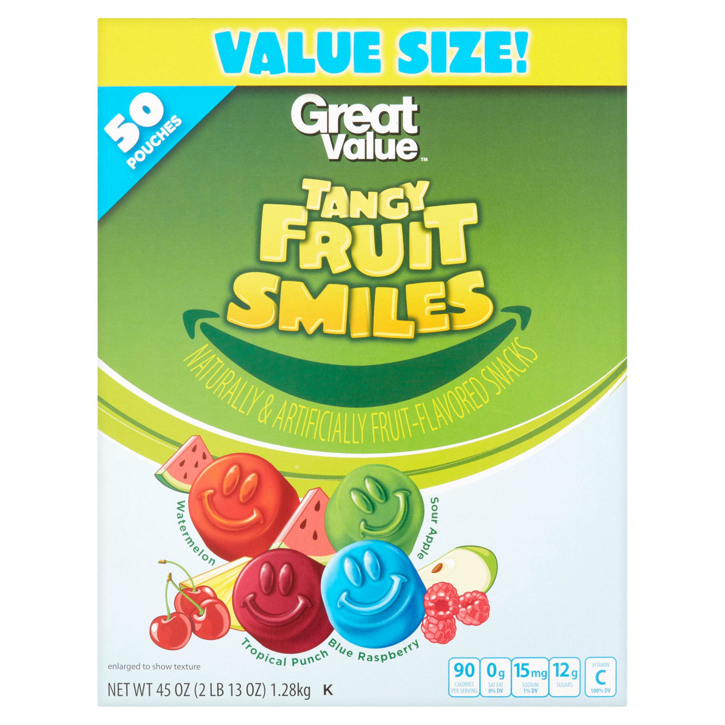 Great Value Fruit Smiles, Tangy, 45 oz, 50 Count