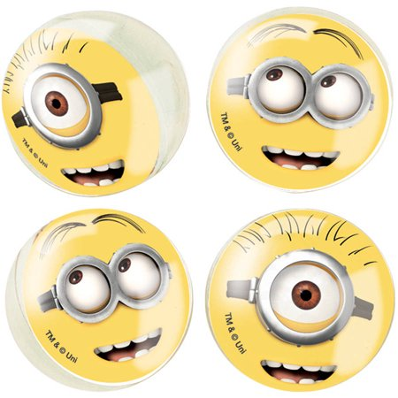 Rubber Despicable Me Minions Bouncy Ball Party Favors, 4ct