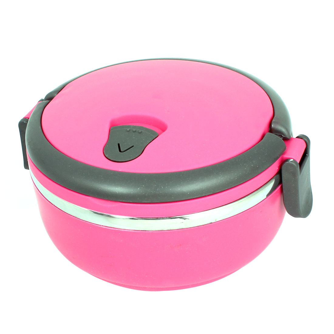 Fuchsia Round Shape Stainless Steel Thermal Insulated Lunch Box Food Container
