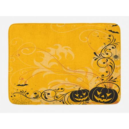 Halloween Bath Mat, Carved Pumpkins with Floral Patterns Bats and Web Horror Jack o Lantern Artwork, Non-Slip Plush Mat Bathroom Kitchen Laundry Room Decor, 29.5 X 17.5 Inches, Orange Black,