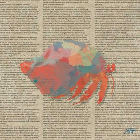 Sea Creatures on Newsprint II Poster Print by Julie -