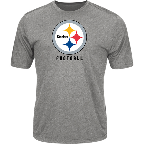 Men's Majestic Heathered Gray Pittsburgh Steelers Proven Winner Synthetic TX3 Cool Fabric T-Shirt