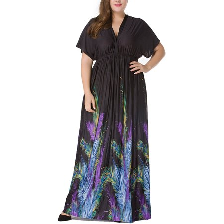 JustVH Women\'s Boho Long Maxi Dress Batwing Short Sleeve Sundress Plus Size  Dresses