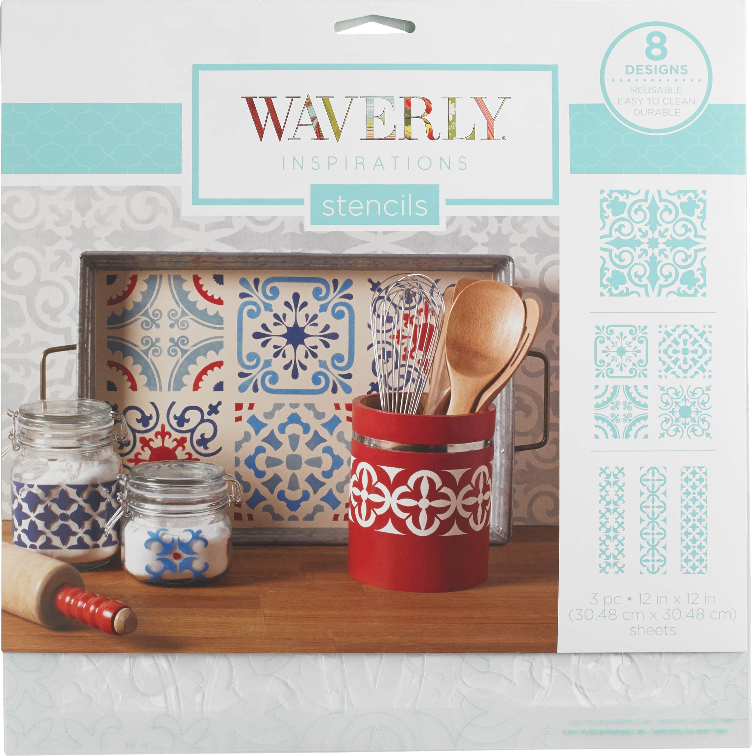 Stencil Plastic Waverly Inspirations 3Pc 12X12 Tile