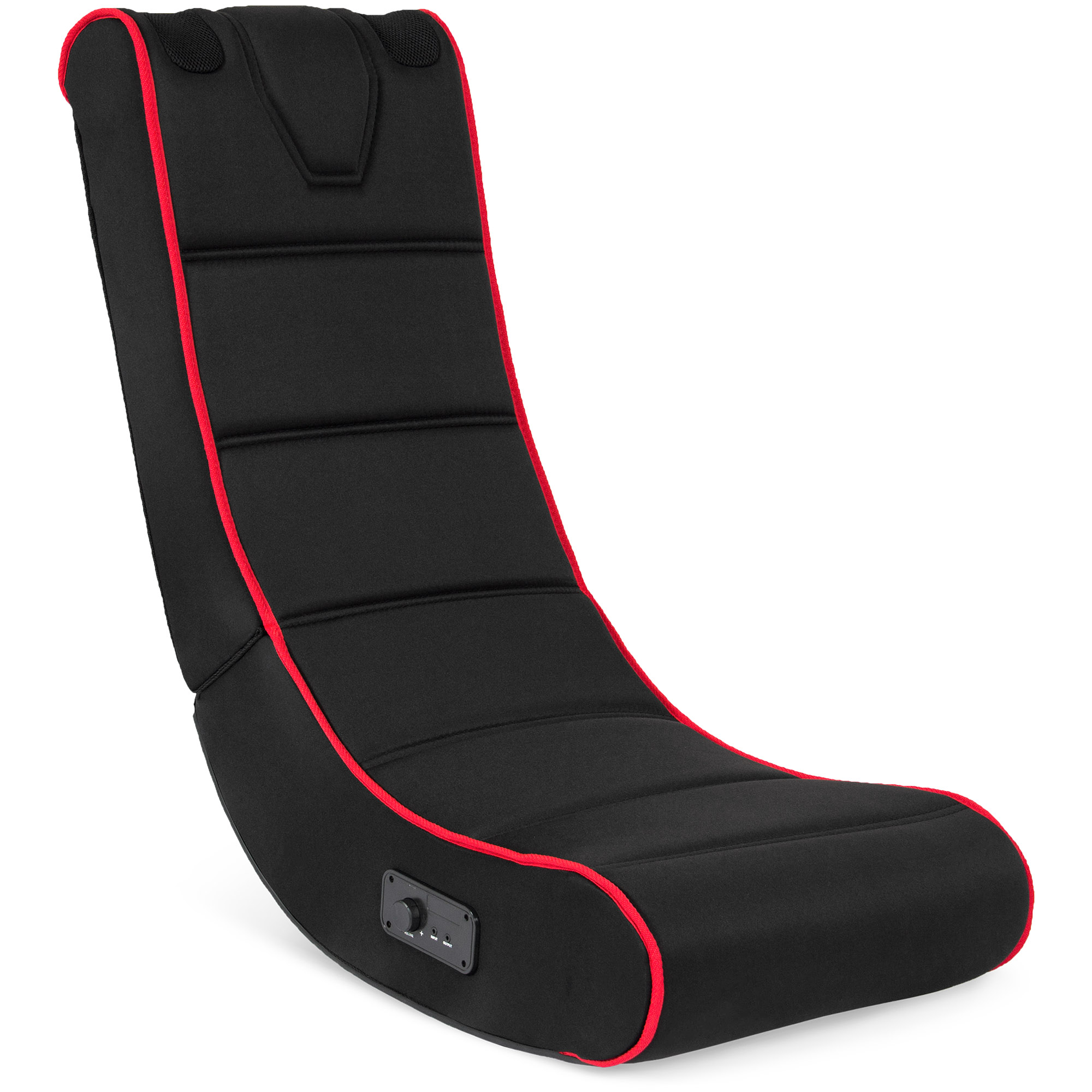 Best Choice Products Foldable Floor Gaming Chair w/ Audio Speakers System - Black/Red