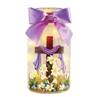 Collections Etc Easter Cross & Lillies Mason Jar Table Decoration