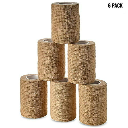 Self Adherent Wrap - Bulk Pack of 6, Athletic Tape Rolls and Sports Wraps, Self Cohesive Non-Woven Adhesive Bandage (3 in x 5 Yards) FDA Approved for Ankle Sprains & Swelling Self Adherent Elastic Cohesive Bandage