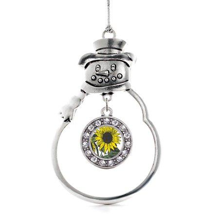 Sunflower Circle Snowman Holiday Ornament - Glass Sunflower Ornament