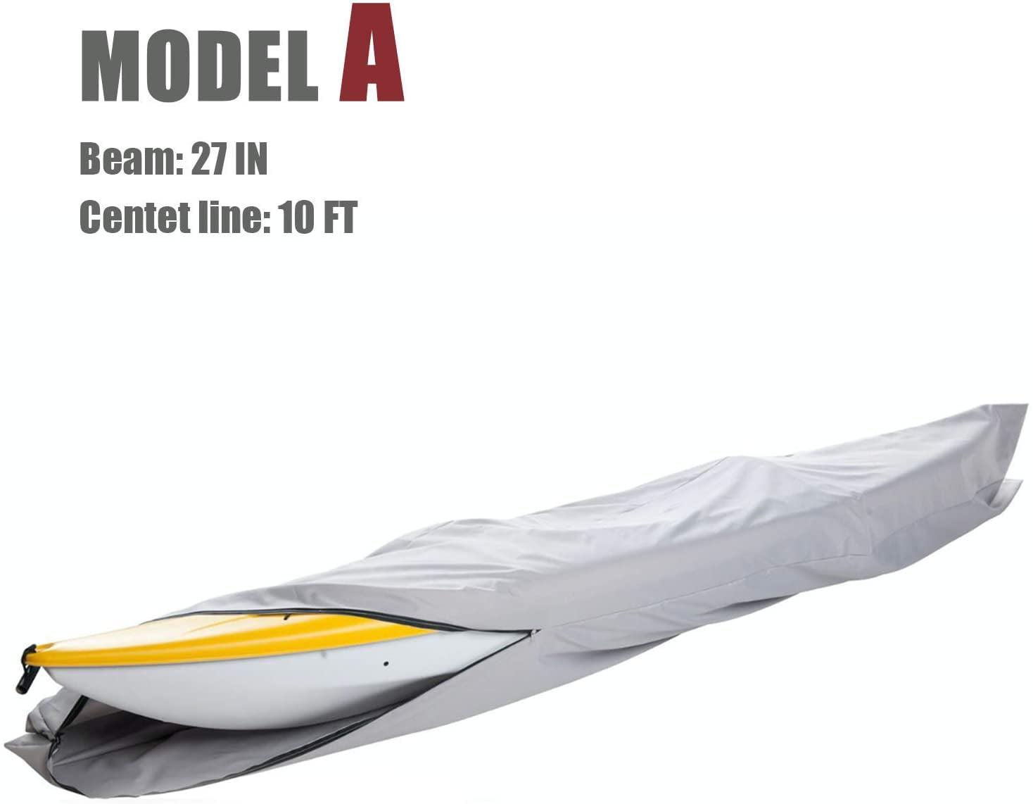 Premium 2.7-3m Kayak Canoe Boat Cover Heavy Duty Trailerable Waterproof Gray