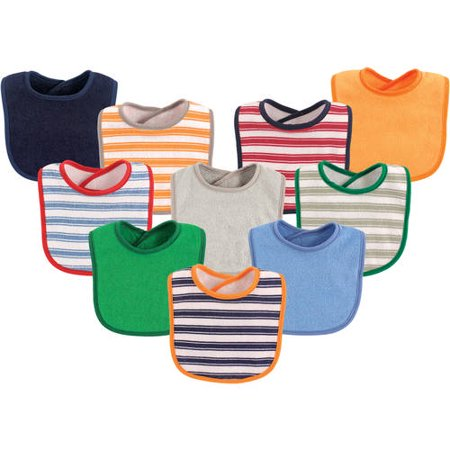 Luvable Friends Baby Boy and Girl Drooler Bibs, 10-Pack - Blue Stripe