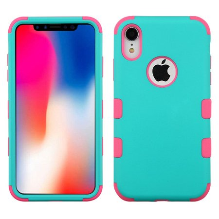 Apple iPhone XR (6.1 inch) Phone Case Tuff Hybrid Shockproof Impact Rubber Dual Layer Hard Soft Protective Hard Case Cover Logo Hole Rubberized Teal Green Pink Phone Case for Apple iPhone Xr (6.1