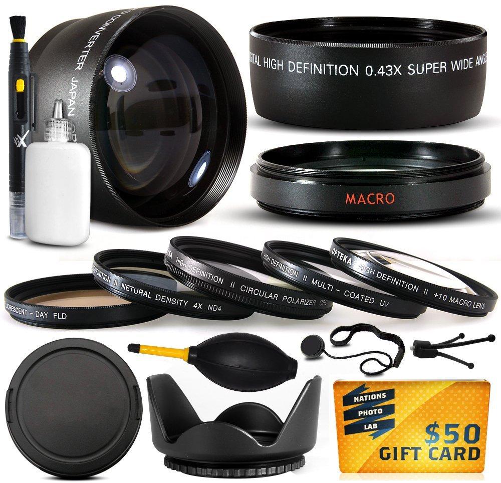 10 Piece Ultimate Lens Package For the Canon PowerShot GX1 Digital Camera Includes Hi-Def.43x Macro Fisheye + 2.2x Extreme Telephoto Lens + Professional 5 Piece Filter Kit + $50 Photo Gift Card!