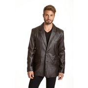 EXcelled Men`s Lambskin Leather 2-button Blazer with Flap Pockets