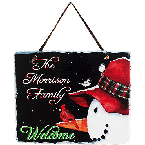 Personalized Snowman and Cardinal Art Plaque