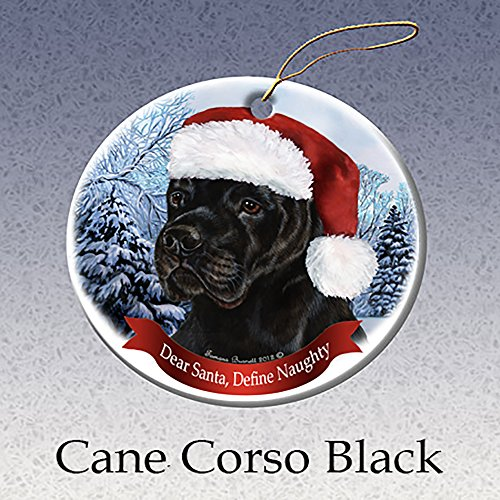 Holiday Pet Gifts Black Cane Corso Santa Hat Dog Porcelain Christmas Tree Ornament