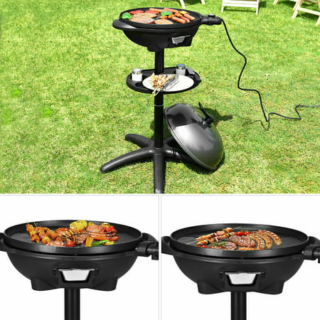 Costway Electric BBQ Grill 1350W Non-stick 4 Temperature Setting Outdoor Garden Camping