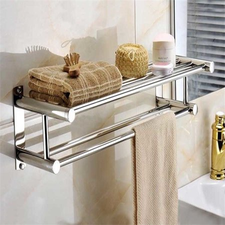 Qiilu Double-Layer Stainless Steel Towel Rack Chrome Wall Mounted Bathroom Towel Rail Holder Towel Storage Rack for Bathroom