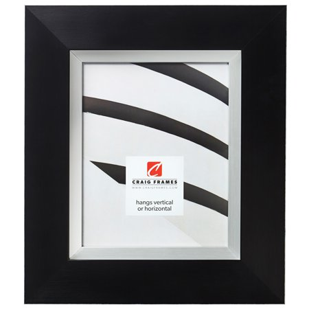 Craig Frames Ambassador, Bold Silver and Black Picture Frame, 11 x 17 (Bold And The Beautiful 11 6 17)