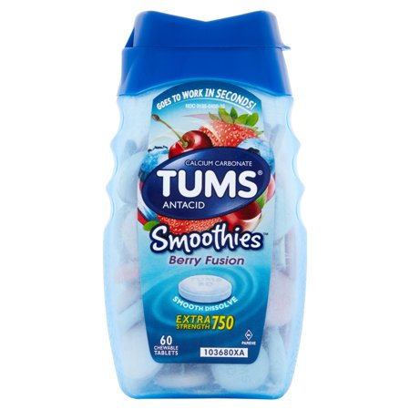 Tums Smoothies Berry Fusion Extra Strength Antacid Chewable Tablets 60 Ct Bottle