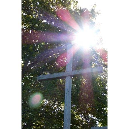 LAMINATED POSTER Wooden Cross Cross Light Beam Back Light Crucifix Poster Print 24 x 36