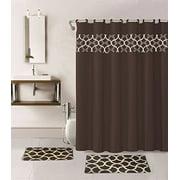 15-piece Hotel Bathroom Sets - 2 Non-Slip Bath Mats 1 Rugs Fabric Shower Curtain 12-Hooks GEOMETRIC BROWN