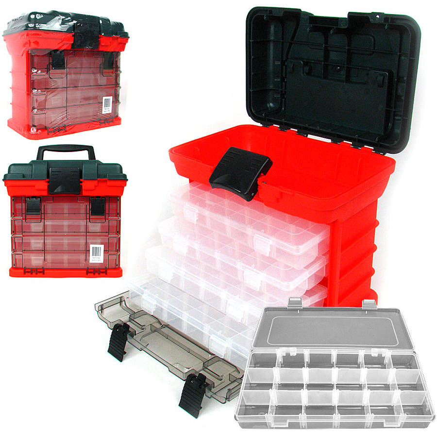 Stalwart 73-Compartment Durable Plastic Storage Tool Box by TRADEMARK GAMES INC