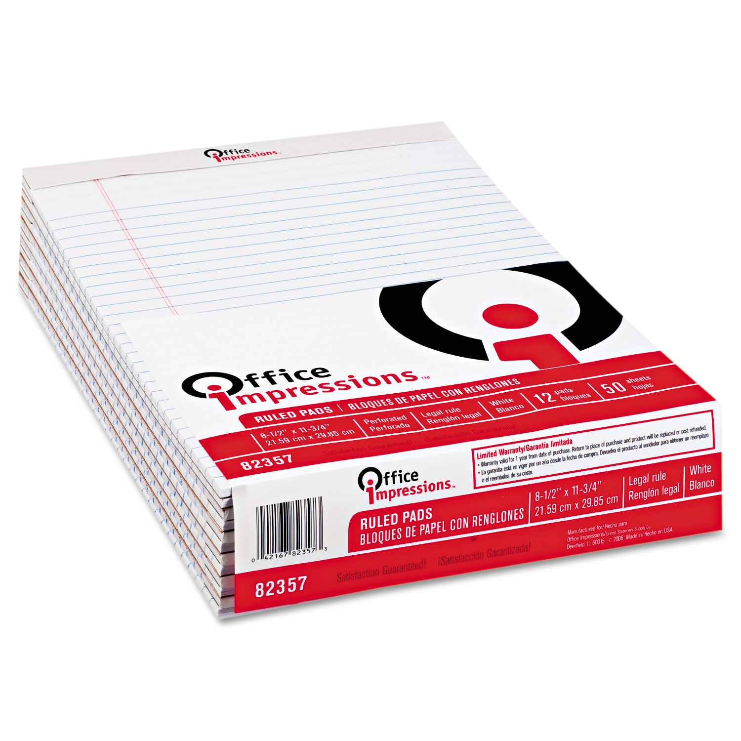 Office Impressions Perforated Edge Legal Ruled 50-Sheet Writing Pads, 12pk, White