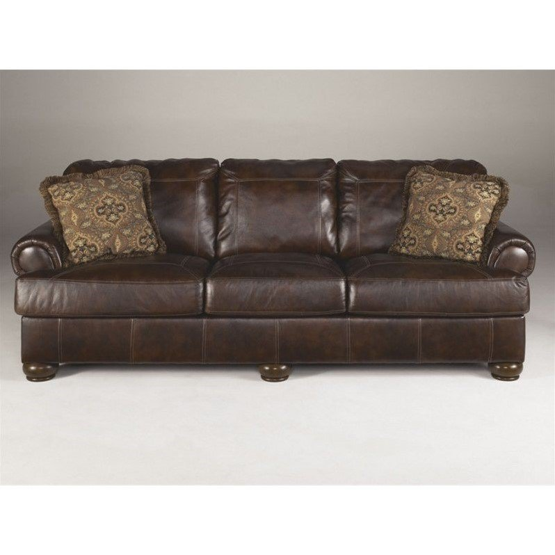 Ashley Furniture Sofa ashley furniture axiom leather sofa in walnut - walmart