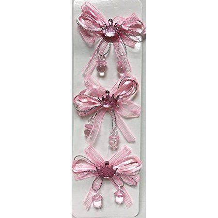 Pink Bows Favor Princess Crown Baby Shower Theme Ribbon Accent Decoration 12 Ct