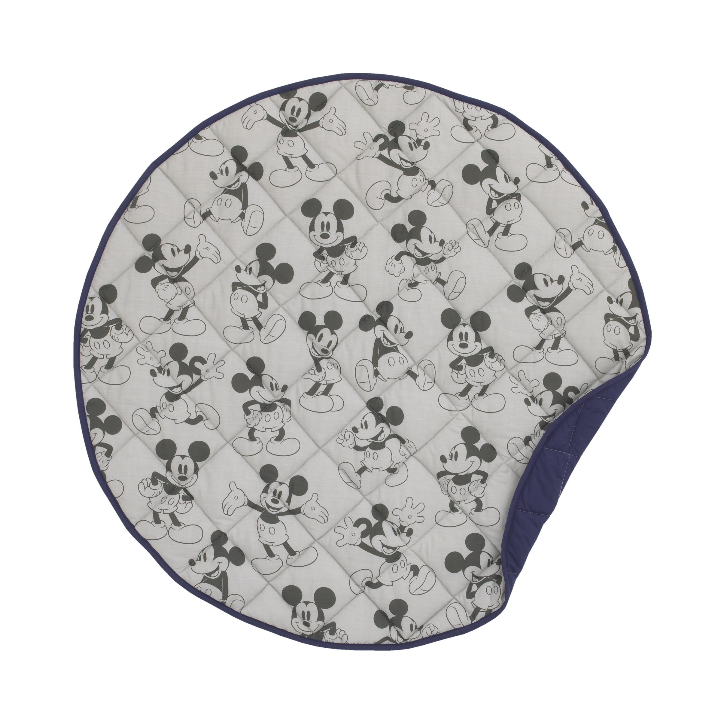 "Disney Mickey Mouse 36"" Round Quilted Tummy Time Playmat, Grey, Navy, Dark Charcoal"