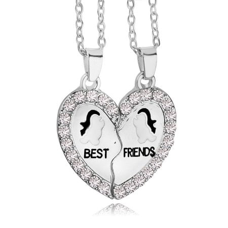 BEST FRIENDS BFF Penguin Heart Silver Tone 2 Pendants Necklace BFF Friendship