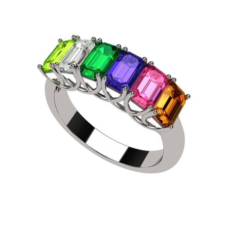 Mother Of Pearl Rose Ring - Emerald Cut Lucita Style 1 to 7 Simulated Birthstones - Mother's Birthstone Ring- Sterling Silver-Size 5