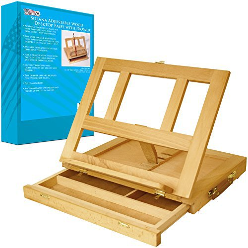 US Art Supply Solana Adjustable Wood Desk Easel with Drawers Painting Art