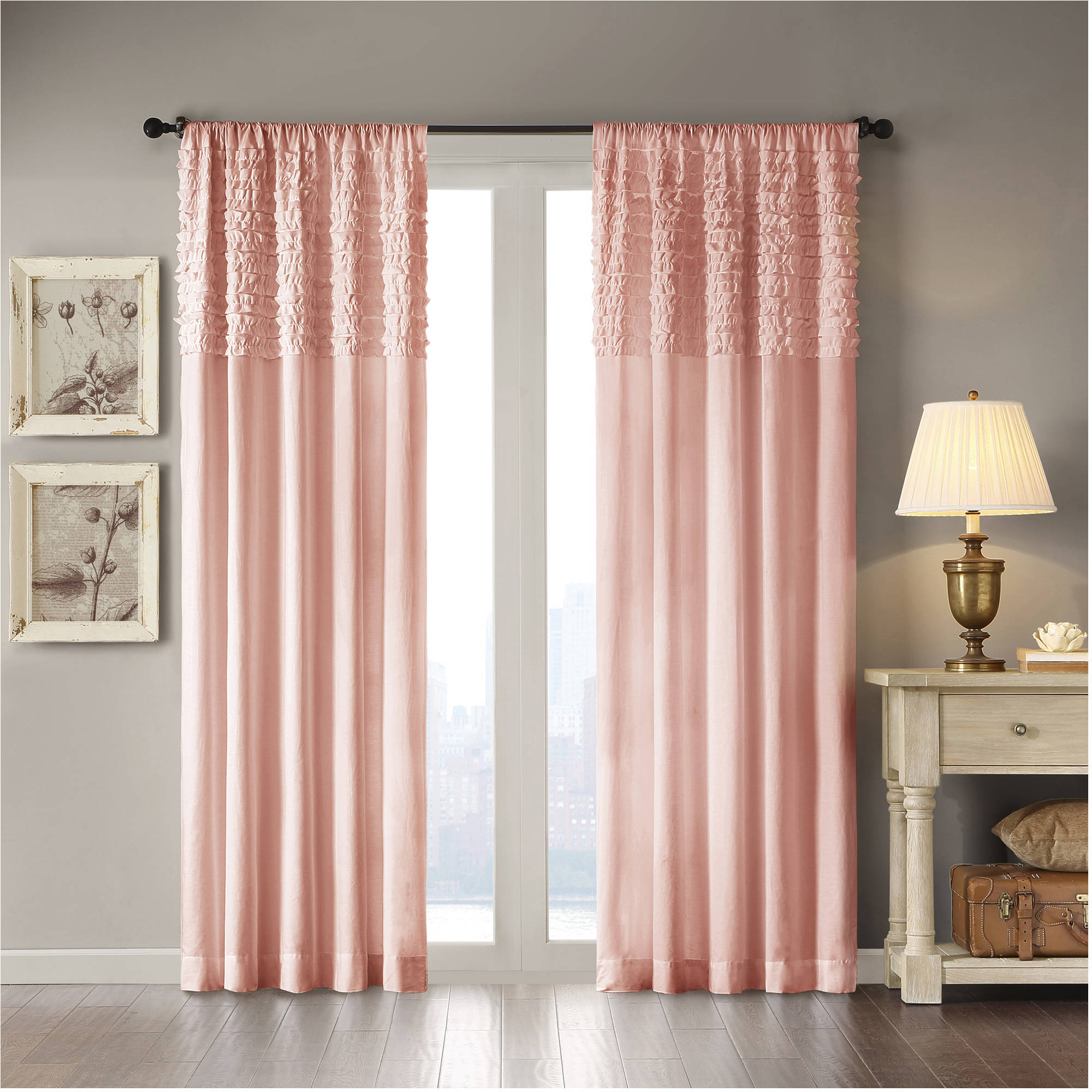 amazon ruffle country curtains white solid park for room fabric com window panel rod living dp curtain madison cottage bedroom pocket bessie