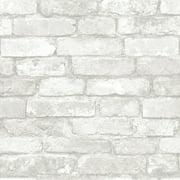 Nuwallpaper Grey and White Brick Peel & Stick Wallpaper