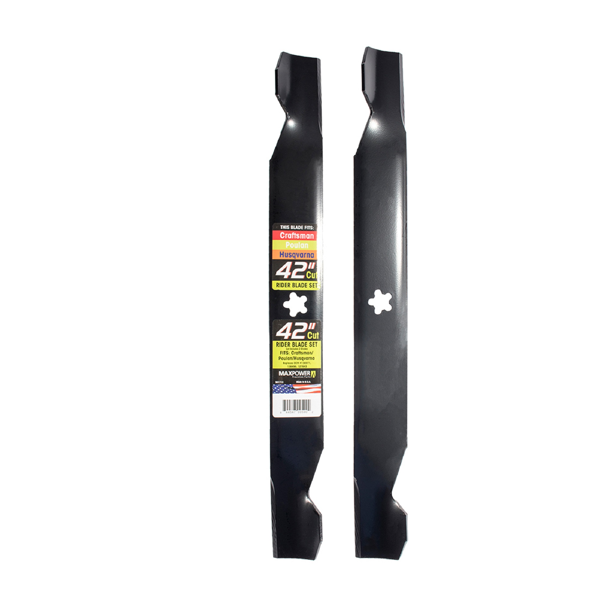 "MaxPower 561713 (2) Blade Set for 42"" Cut Poulan, Husqvarna, Craftsman Riders Replaces OEM #138971, 138498, 127843"