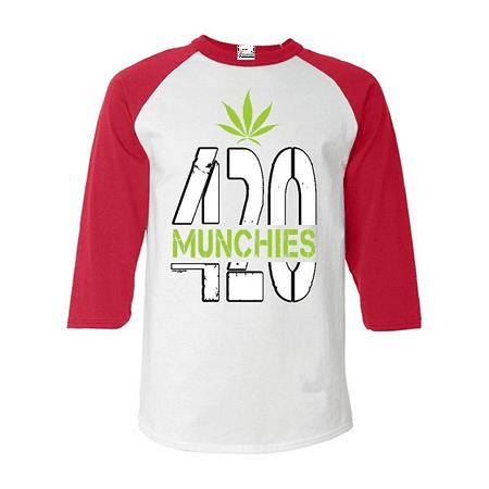 420 Munchies Baseball Shirt Weed Smokers Raglan Shirt