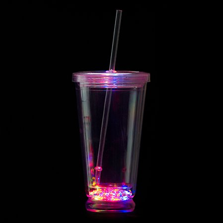 Flashing LED Tumbler with Straw