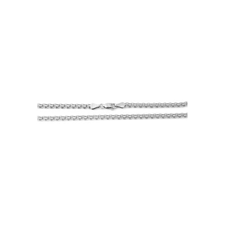 Solid Sterling Silver Rhodium Plated 2.4mm Bismark Chain Necklace, 18