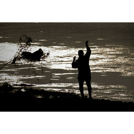 Canvas Print Silhouette Fisherman from Adana Stretched Canvas 32 x 24